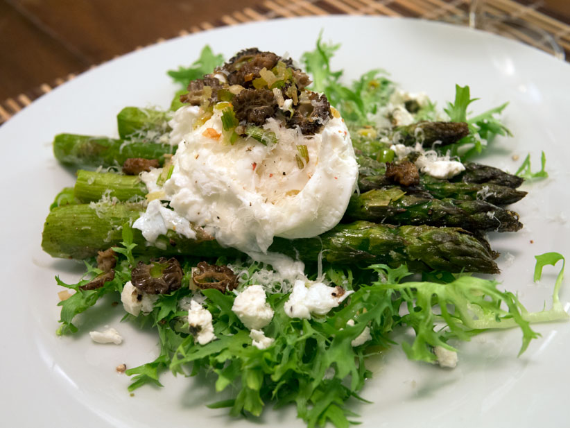Recipe: Asparagus with Morels, Green Garlic & Egg