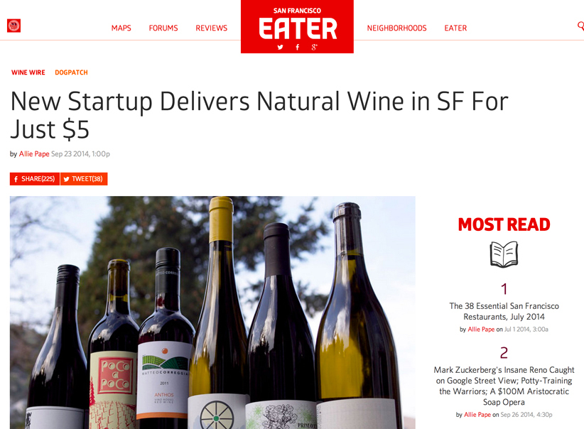 Winelandia was featured by Eater SF!